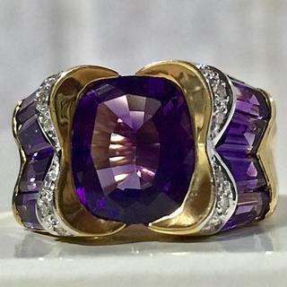 K18 アメジスト×ダイヤモンド リング 指輪(リング(指輪))