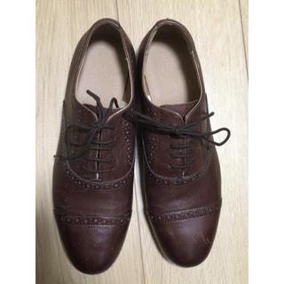 MUJI (無印良品) - 無印良品靴ウィングチップ茶色ブラウンM24.0レディースシューズ