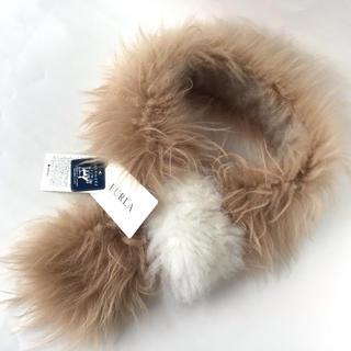 フルラ(Furla)のFULRA フルラ カシミヤ ファー マフラー 山羊 新品 タグ付き ベージュ(マフラー/ショール)