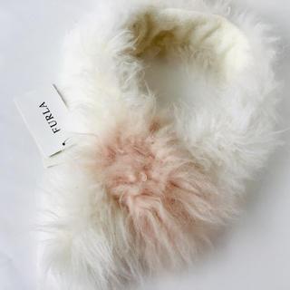 フルラ(Furla)のFULRA フルラ カシミヤ ファー マフラー 山羊 新品 タグ付き ホワイト(マフラー/ショール)