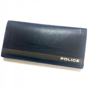 ポリス(POLICE)の新品 本革 長財布 ネイビー かぶせ(財布)