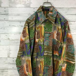 【カリスマさん】古着 総柄 スカーフ バブル アート モード  デザインシャツ(シャツ)