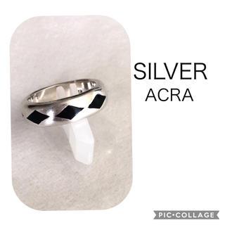 ACRA シルバーリング  10号(ダイヤ柄 黒)(リング(指輪))