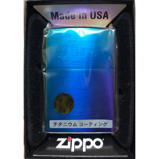 ジッポー(ZIPPO)のZippo サテンレインボー ブルー(タバコグッズ)