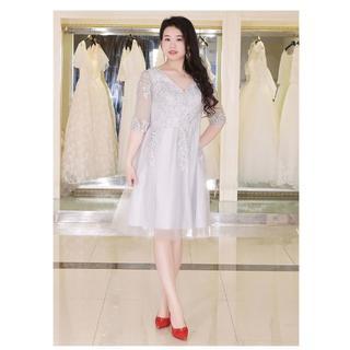 大きいサイズのイブニングドレス シルバーグレー XLから10XL(その他ドレス)
