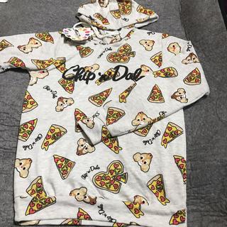 チップアンドデール(チップ&デール)のチップアンドデールのピザ柄のパーカー(パーカー)