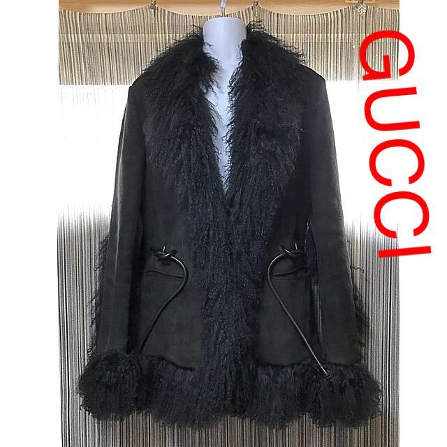 Gucci - GUCCI ムートン ファー コート ブラック グッチの通販 by ハル