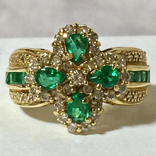 K18 エメラルド×ダイヤモンド フラワー リング 指輪(リング(指輪))