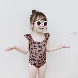 女の子スイムウェア レオパードフリル水着