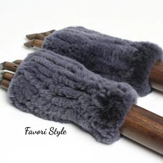 フォクシー(FOXEY)の高品質 レッキスラビットファー 手袋 アームカバー  グレーネイビー(手袋)