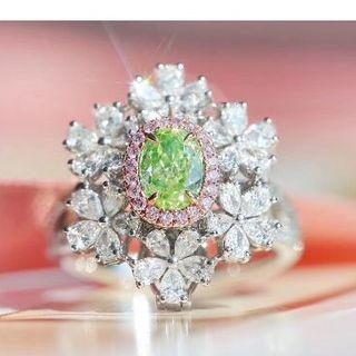 GIA付 希少なファンシーグリーンイエローダイヤモンドリング(リング(指輪))