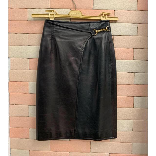 Gucci - 数回¥25万品★グッチ ★ 高級 レムレザー スカート ブラック イタリア製の通販 by ♧ヒロ SALE♧プロフ必読♧
