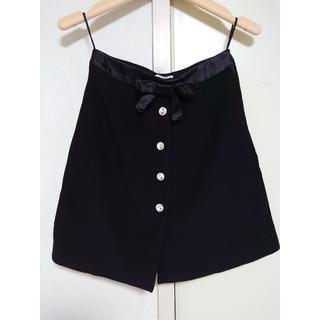 ミュウミュウ(miumiu)のmiu miu ビジューボタン サテンリボン スカート ブラック 黒(ミニスカート)