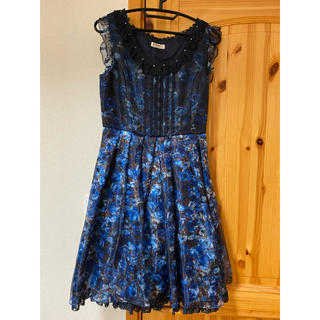 アクシーズファム(axes femme)のaxes 1回着用 パーティー ドレス ブルー 花柄 2点セット(ミディアムドレス)