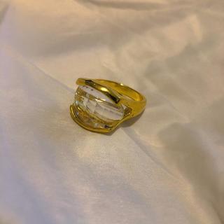 ロキエ(Lochie)の୨୧ Vintage rétro clear crystal gold ring(リング(指輪))
