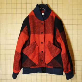 USA製 チェック ウールジャケット レッド ブラック レディースS相当aw85(ブルゾン)