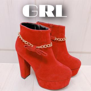 グレイル(GRL)のGRL ボルドーチェーンリボンスエードショートブーツ(ブーティ)