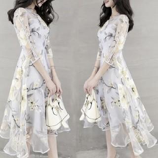 新品 花柄ワンピースドレスパーティーデート XS 結婚式 リゾートドレス(ひざ丈ワンピース)