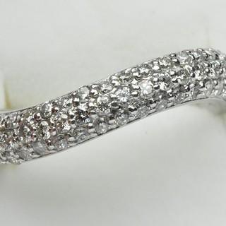K18WG パヴェ 0.51ct ダイヤモンドリング 5号 指輪  (リング(指輪))