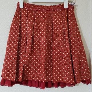 ドットスカート 赤(ひざ丈スカート)