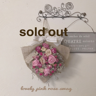 lovely pink rose swag(ドライフラワー)