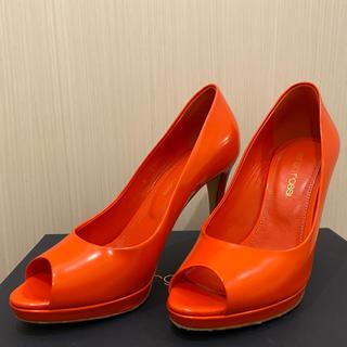 セルジオロッシ(Sergio Rossi)の美品 セルジオロッシ オレンジ オープントゥ パンプス 34(ハイヒール/パンプス)