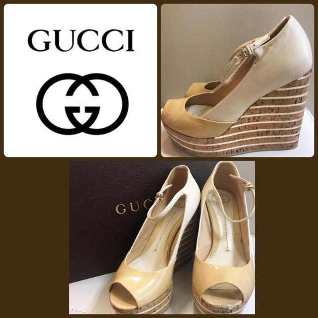 Gucci - GUCCI ベージュレザー  コルクウエッジ  サンダルの通販 by tonashoes  年末年始発送可能♡
