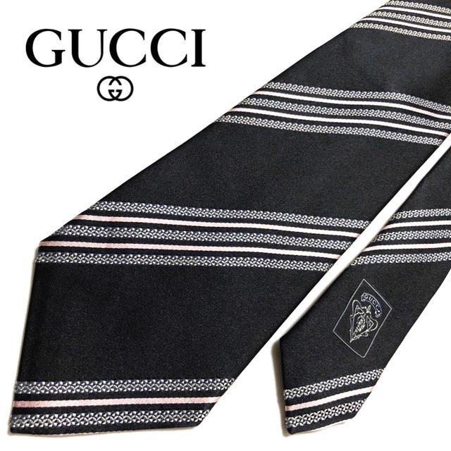 ルイヴィトン財布偽物ugg,Gucci-【未使用に近い】GUCCIネクタイイタリア製ブラッククレスト紋章の通販byhhy