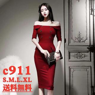 タイトワンピース パーティドレス きれいめ 姫系 ロング お呼ばれ c911(ミディアムドレス)