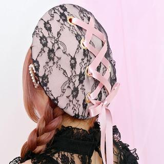 マーズ(MA*RS)の【新品タグ付き】レースアップベレー帽ピンク(ハンチング/ベレー帽)