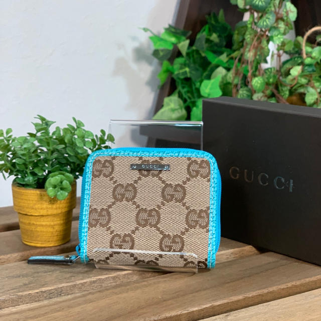Gucci - GUCCI-グッチ-コインケース GGキャンパス ブルー 美品 箱付きの通販 by minaaaami's shop
