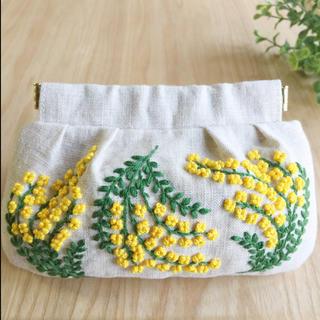 刺繍バネ口ポーチ ミモザ(ポーチ)