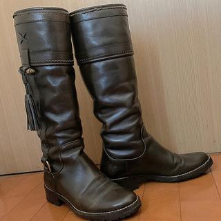 ドルチェアンドガッバーナ(DOLCE&GABBANA)の膝下ブーツ オールレザー こげ茶 擦れ、シワあり(ブーツ)