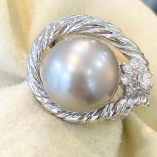 ✨梶光夫✨大粒❣️パール ダイヤモンド ダイヤ Pt900 リング 指輪(リング(指輪))