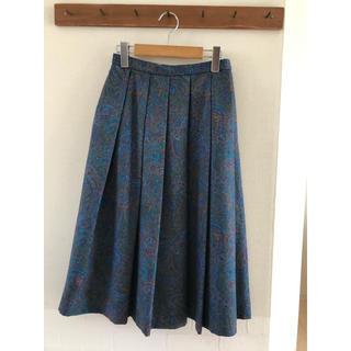 サンタモニカ(Santa Monica)の【Vintage】RENOWN レトロ柄 プリーツスカート  ブルー(ひざ丈スカート)