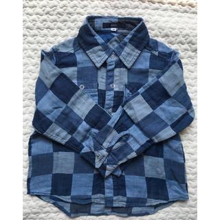 シップス(SHIPS)のSHIPS 青 ブロックチェック 長袖シャツ size100(ブラウス)