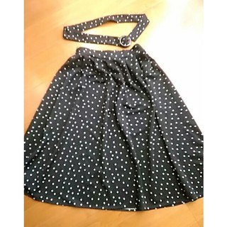 フェリシモ(FELISSIMO)のフェリシモ 黒ドットスカート(S~M)(ロングスカート)