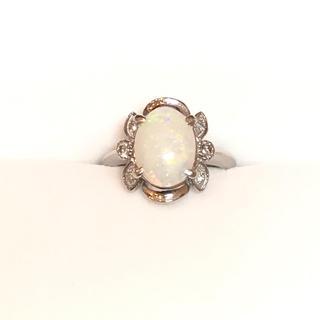 4807 ホワイトオパール D0.09ct Pt900 リング 10号(リング(指輪))