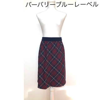 バーバリーブルーレーベル(BURBERRY BLUE LABEL)の●バーバリーブルーレーベルburberry/スカート  チェック柄 ネイビー×赤(ひざ丈スカート)
