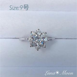 雪の結晶デザインCZダイヤリング(9号)★シルバーカラー、巾着付き、即日発送(リング(指輪))