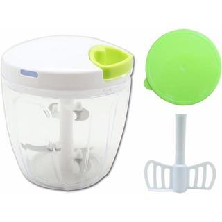 K&A みじん切り器 ふたも洗える ぶんぶんチョッパー5 900ml 5枚刃 B(テーブル用品)