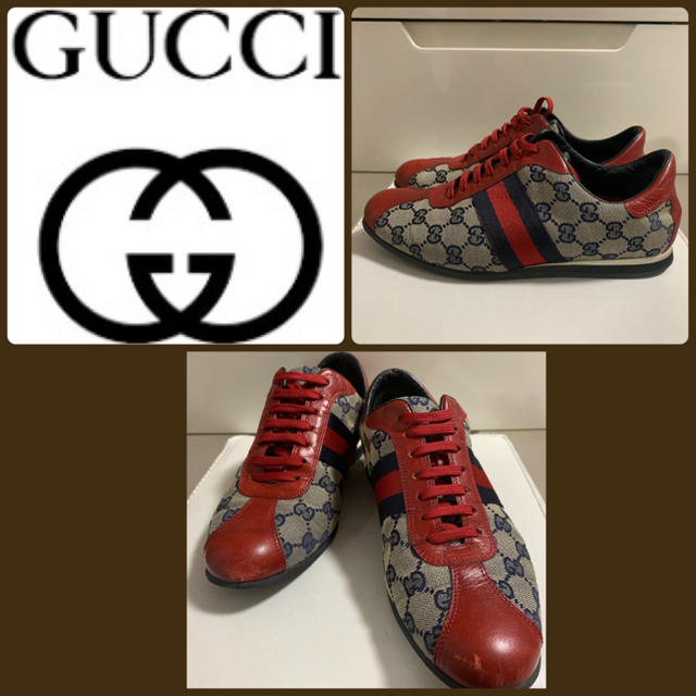 Gucci - GUCCI GG柄 レザースニーカー�通販 by tonashoes  年末年始発��能♡