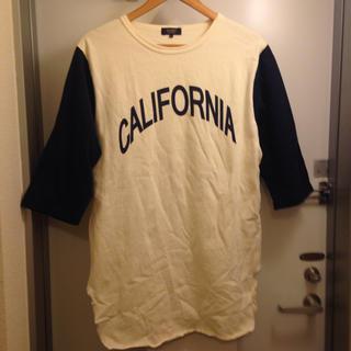 ブラウニー(BROWNY)のBROWNY VINTAGE ロング カットソー L ホワイト ネイビー(Tシャツ/カットソー(七分/長袖))