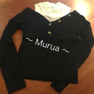 ムルーア(MURUA)の新品♪未使用【Murua】ブラック×ホワイトバイカラーオフショルダーニット(ニット/セーター)