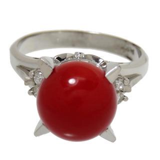 珊瑚 ダイヤモンド 指輪 リング Pt900(リング(指輪))