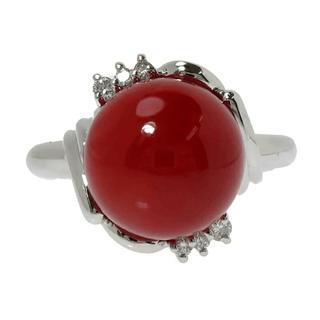赤珊瑚 10.3mm ダイヤ リング・指輪 Pt900 珊瑚(リング(指輪))