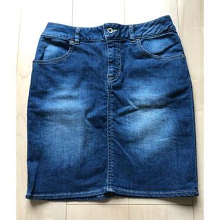 膝丈デニムスカート(ひざ丈スカート)