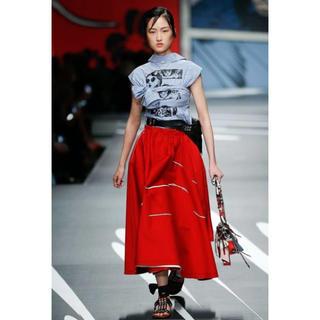 プラダ(PRADA)の1/10まで限定出品! PRADA 赤 フレアスカート miumiu シャネル(ロングスカート)