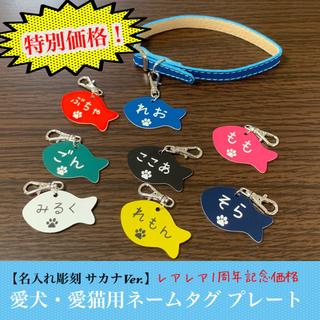 【名入れ彫刻】愛犬・愛猫用 ネームタグ プレート サカナVer.(ペット服/アクセサリー)