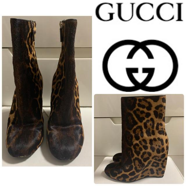 Gucci - 美品 GUCCI ハラコレオパード   ショート ブーツの通販 by tonashoes  年末年始発送可能♡